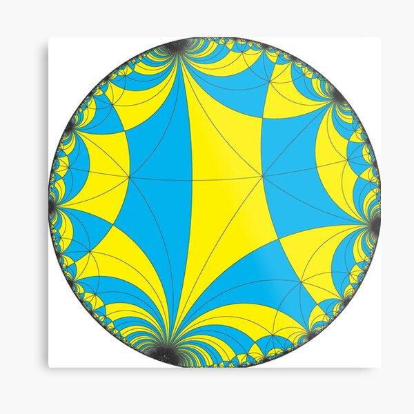 Tiling of the Lobachevsky space by Saccheri quadrangles, one of the cases of the Coxeter polytope. Замощение пространства Лобачевского четырехугольниками Саккери Metal Print