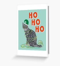 Funny Grey Cat merry christmas holiday office gift ideas for cat person  Greeting Card