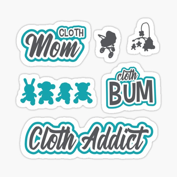 Cloth Mom Bum BLUE Sticker Pack Sticker