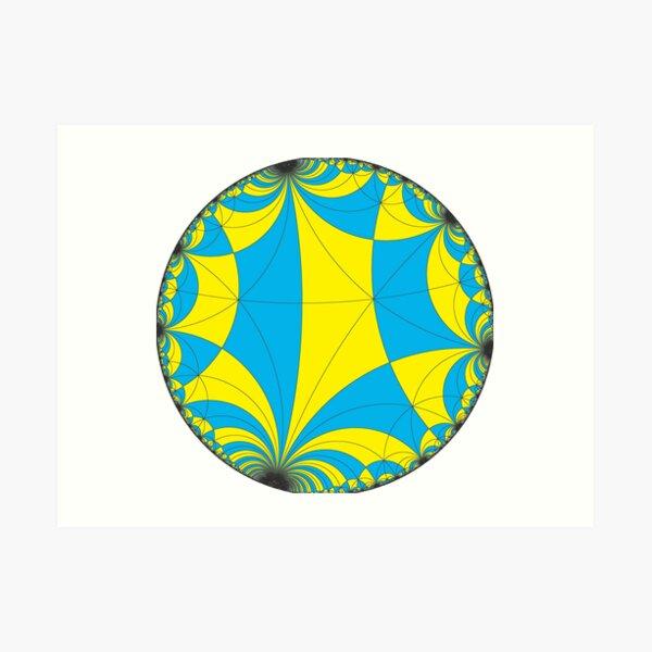 Tiling of the Lobachevsky space by Saccheri quadrangles, one of the cases of the Coxeter polytope. Замощение пространства Лобачевского четырехугольниками Саккери Art Print