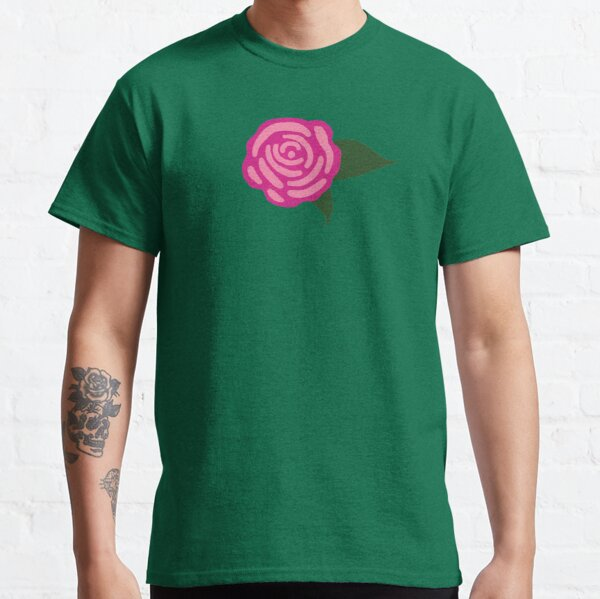 Modern Pink Rose with Green Leaves Classic T-Shirt
