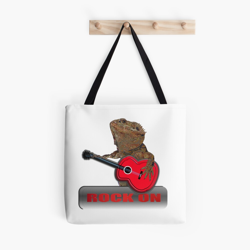 Bearded Dragon Plays Guitar Tote Bag