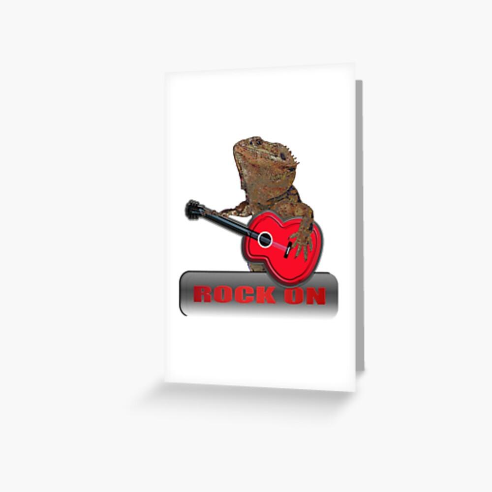 Bearded Dragon Plays Guitar Greeting Card