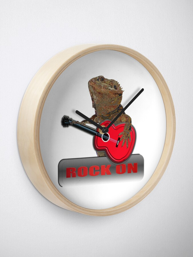 Alternate view of Bearded Dragon Plays Guitar Clock