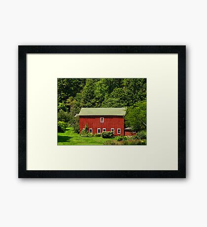 Red Barn in the Valley Framed Print