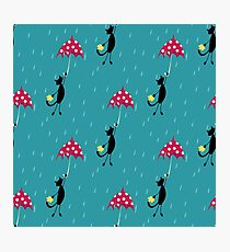 seamless pattern with cat fly with red umbrella Photographic Print