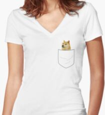 pocket doge Women's Fitted V-Neck T-Shirt
