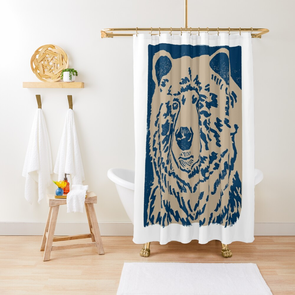 Blue Bear Shower Curtain