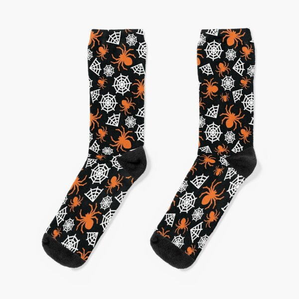 Halloween Spider and Spider Web Pattern (Orange, Black, and White) Socks