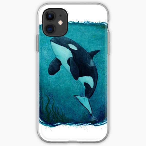 """""""The Matriarch"""" by Amber Marine ~ killer whale / orca watercolor painting, (J2 Granny) art © 2016 iPhone Soft Case"""