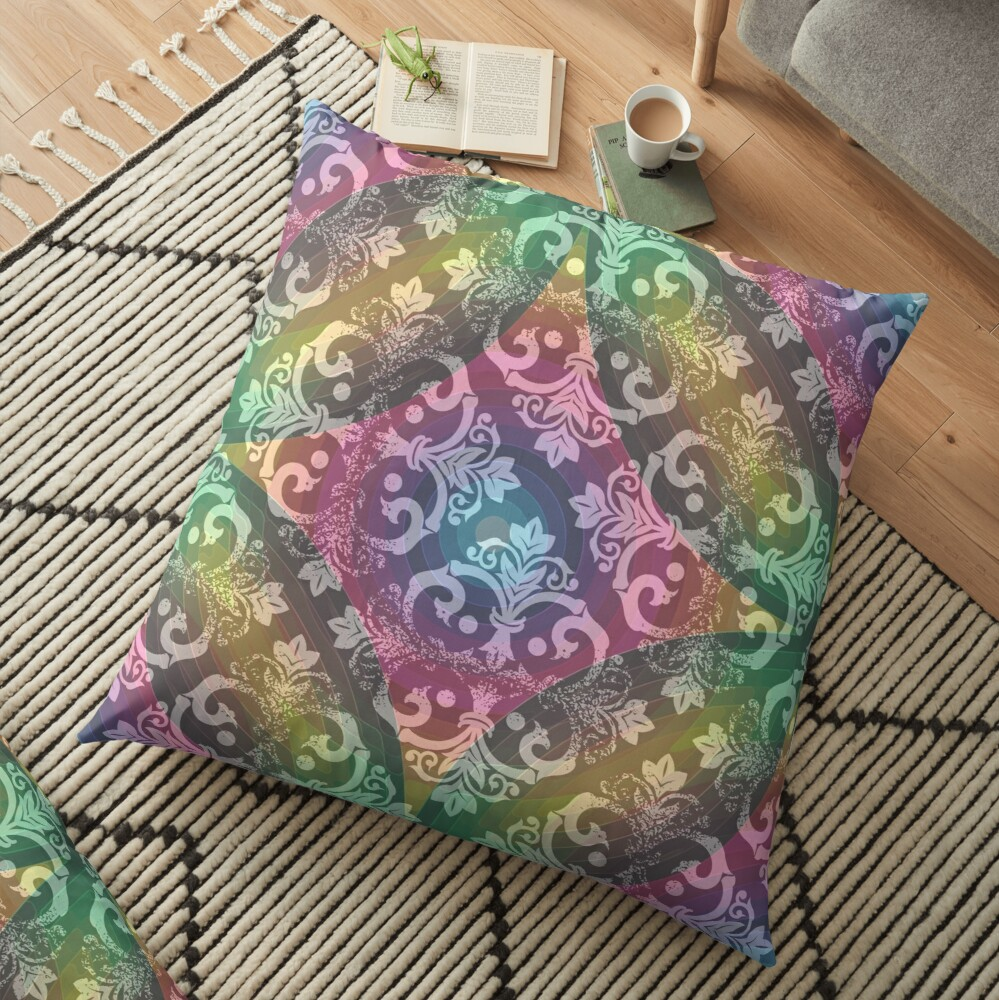 Psychedelic Indie Bohemian Floral Design Floor Pillow