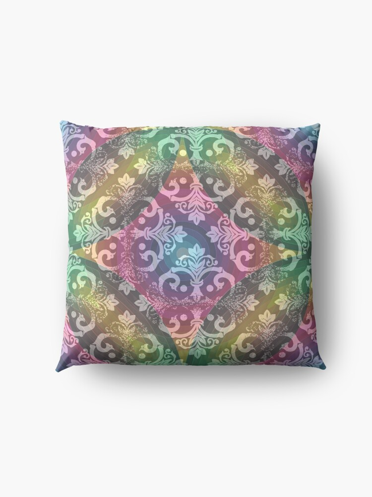 Alternate view of Psychedelic Indie Bohemian Floral Design Floor Pillow