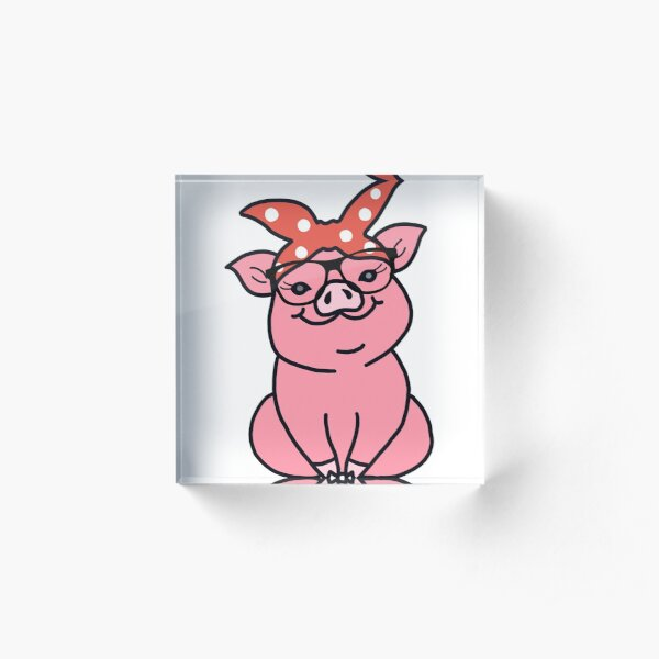 Pig with Glasses Acrylic Block