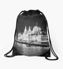 Hungarian Parliament Night BW Drawstring Bag