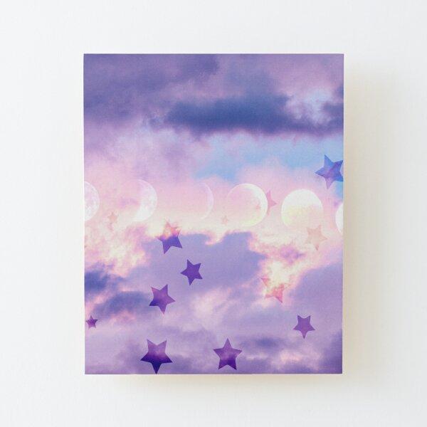 Moon Stars Wood Mounted Print