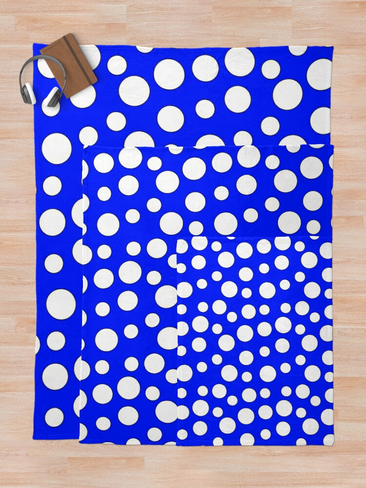 Alternate view of Blue and White Polka Dots Throw Blanket