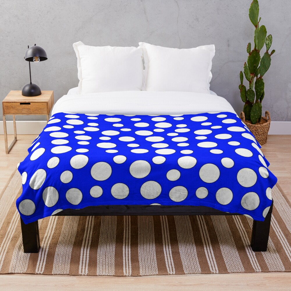 Blue and White Polka Dots Throw Blanket
