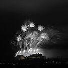 Festival Fireworks at Edinburgh Castle in B&W by Sue Fallon Photography
