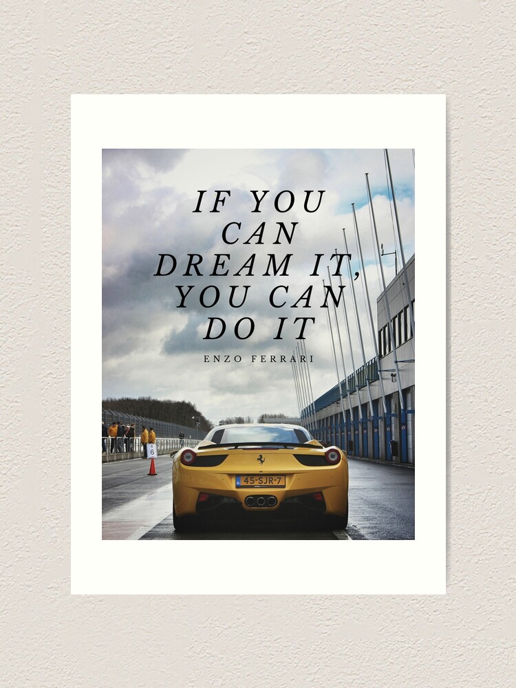 Enzo Ferrari Quote Art Print By Separated Redbubble
