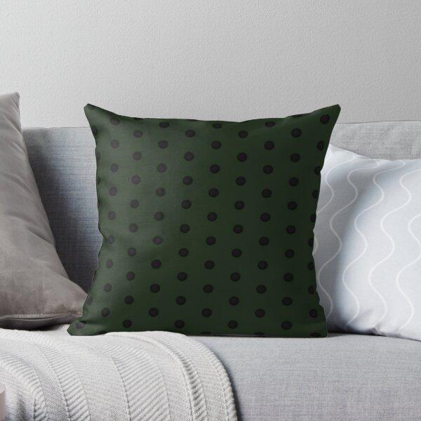 Dark Green Rockabilly Dot Pattern Throw Pillow