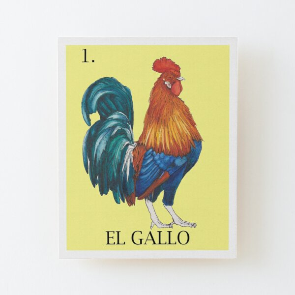 El Gallo (The Rooster) Loteria Card Wood Mounted Print