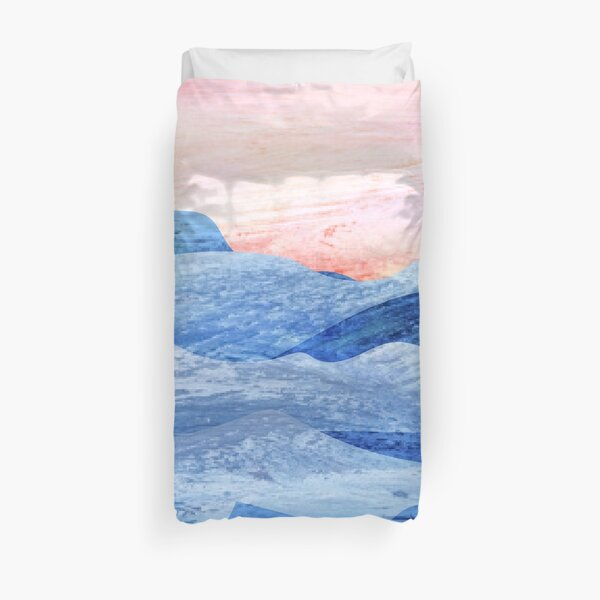 Abstract Modern Foggy Mountains Painting Art Duvet Cover