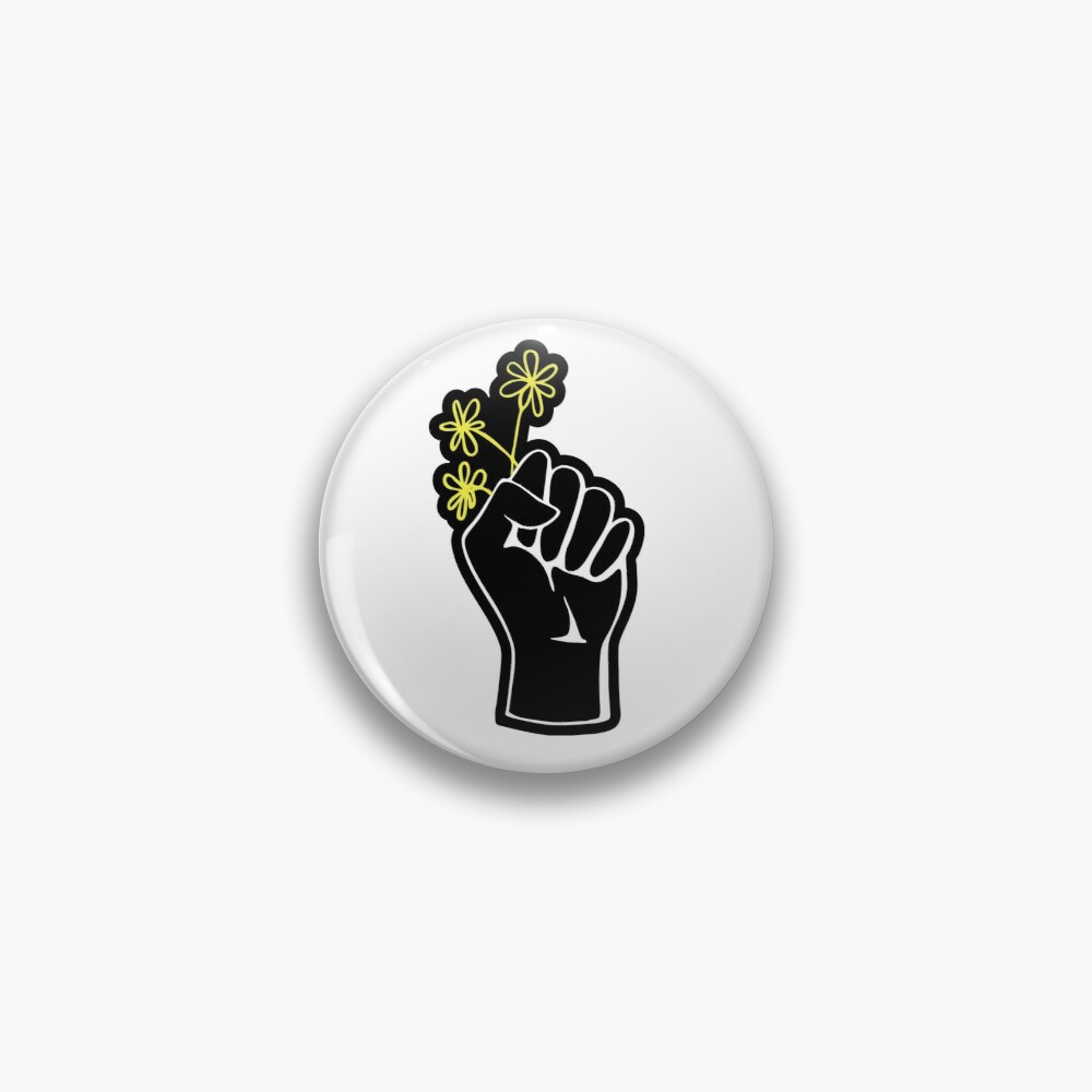 Black Lives Matter Fist With Flowers Pin