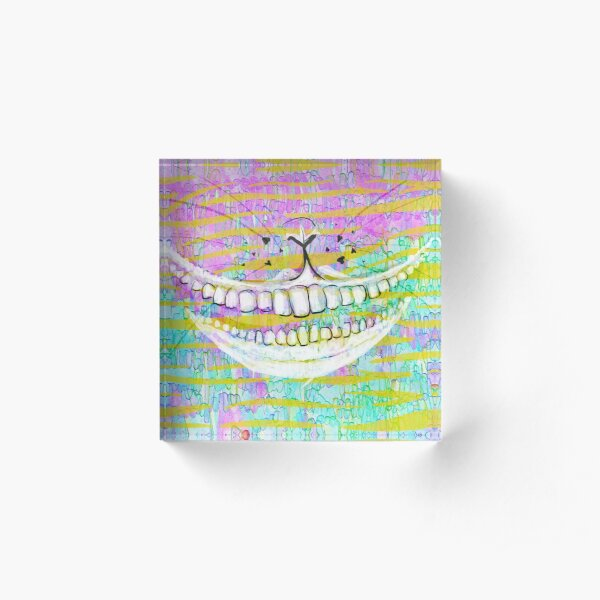 Cheshire Cat (White on Pink) Acrylic Block