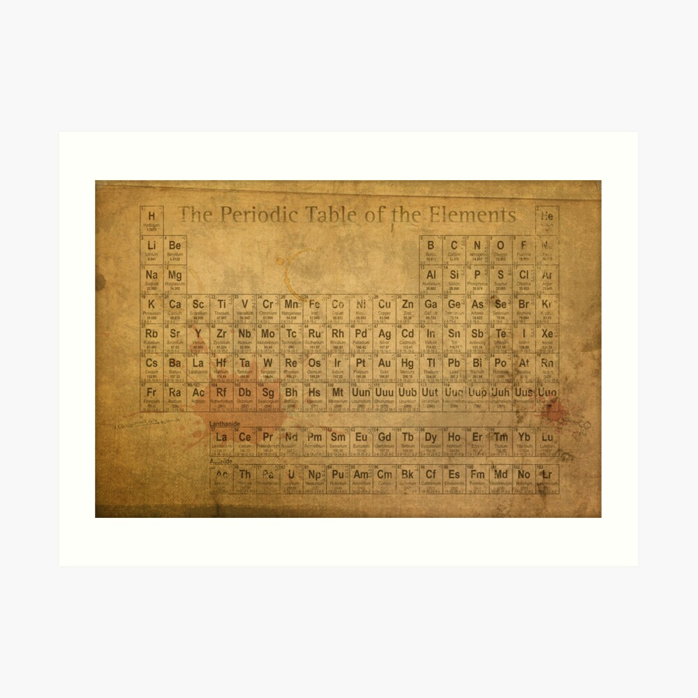 Periodic Table of the Elements Vintage Chart on Worn Stained Distressed Canvas Kunstdruck