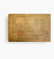 Periodic Table of the Elements Vintage Chart on Worn Stained Distressed Canvas Metal Print