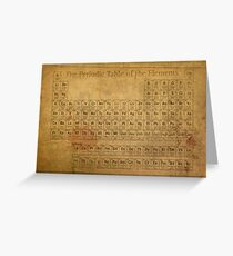 Periodic Table of the Elements Vintage Chart on Worn Stained Distressed Canvas Greeting Card