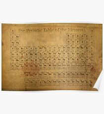 periodic table of the elements vintage chart on worn stained distressed canvas poster - Periodic Table Of Elements Gifts