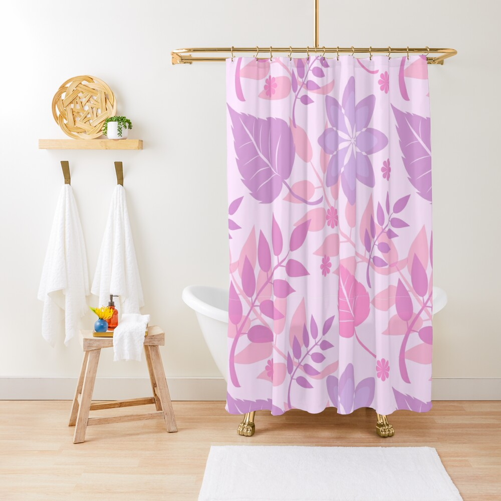 Trendy Girly Leaves Print Shower Curtain