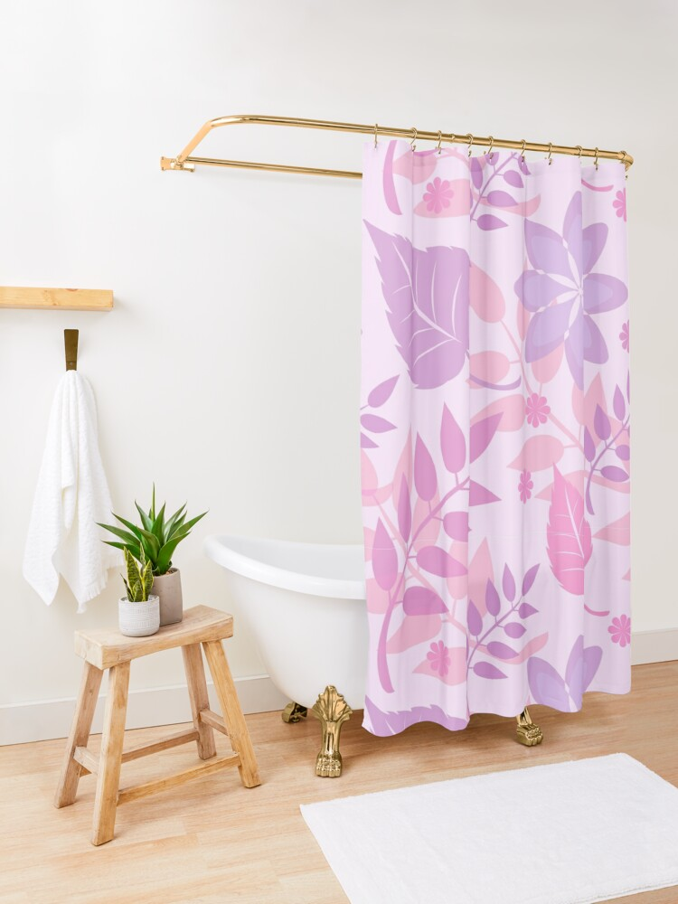 Alternate view of Trendy Girly Leaves Print Shower Curtain