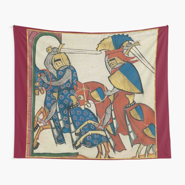 Knights Charging Medieval Illumination Tapestry