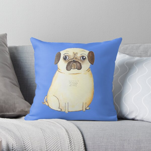 Chubby Pug Throw Pillow