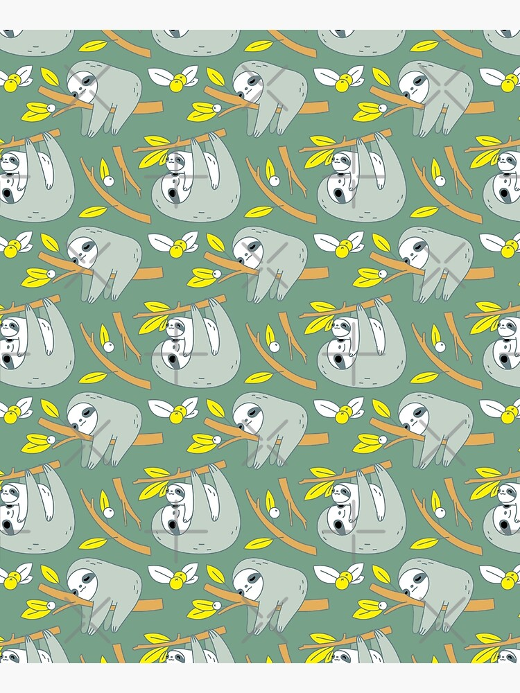 Sloth Pattern in Green  by Miri-Noristudio