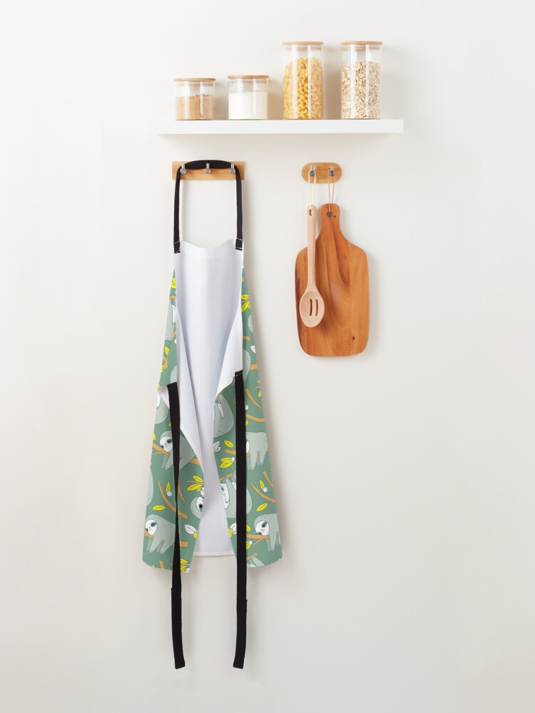 Alternate view of Sloth Pattern in Green  Apron