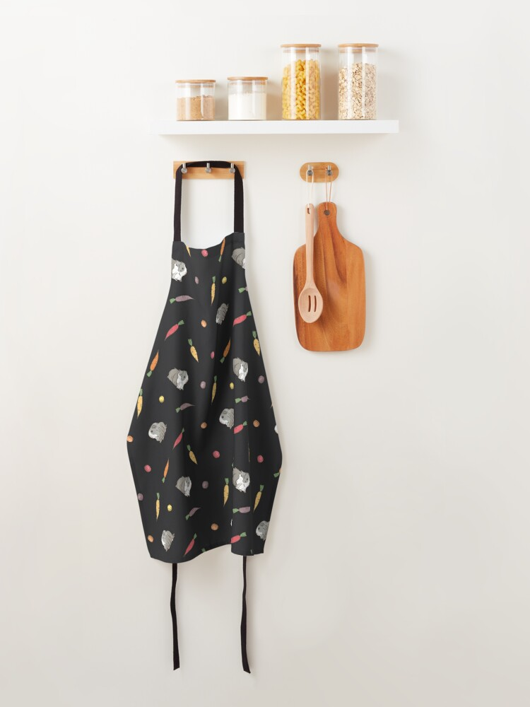 Alternate view of Carrots and Silkie Guinea Pigs Pattern in Black Background  Apron