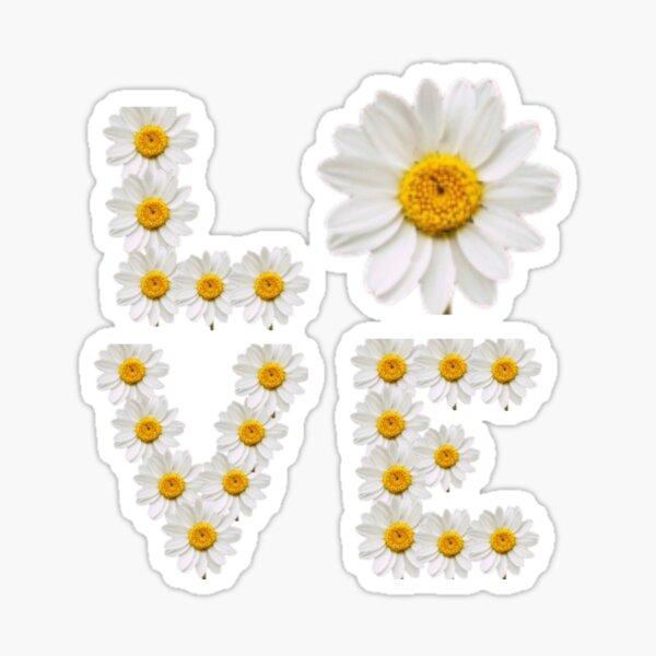 Love white and yellow flower power daisy  Sticker