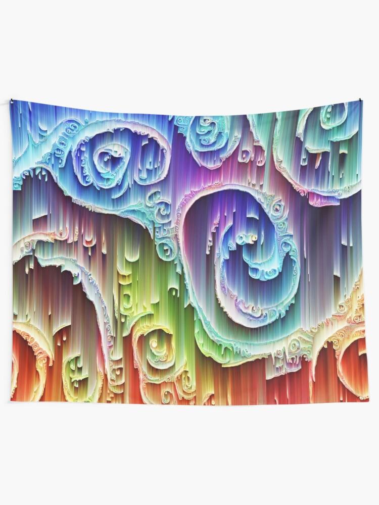 Alternate view of DeepDream Tomato Steelblue 5x5K v9 Tapestry