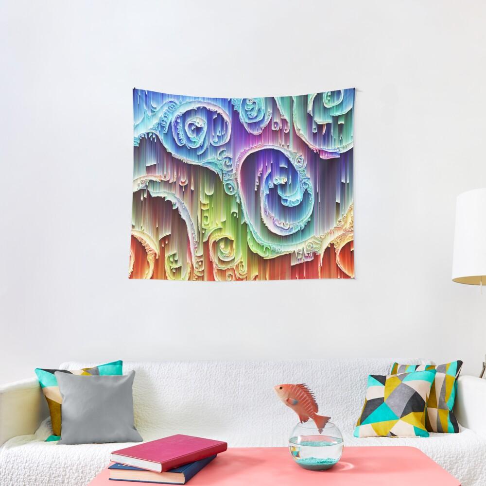 DeepDream Tomato Steelblue 5x5K v9 Tapestry