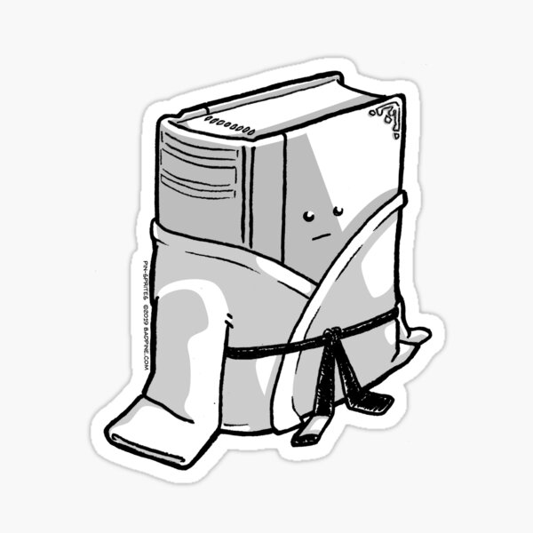 Pin-Sprites - Book in a Gi - Black and White/Face Sticker
