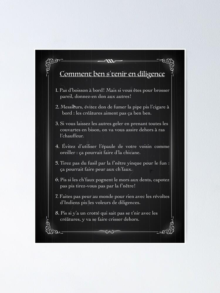 Poster ''Comment ben s'tenir en diligence': autre vue