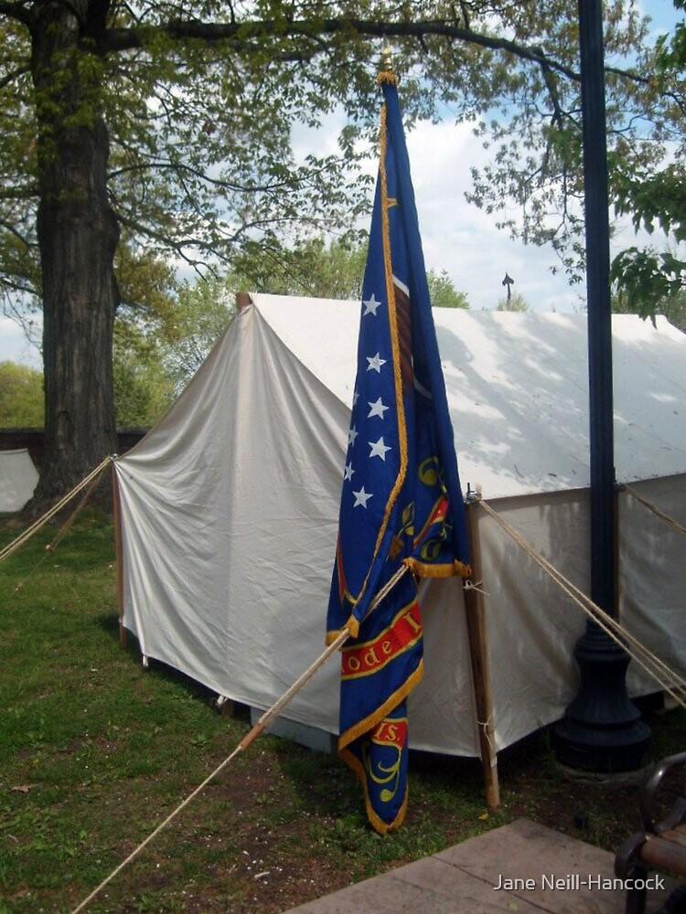 Civil War Officers Tent, Rhode Island Regiment Flag by Jane Neill-Hancock
