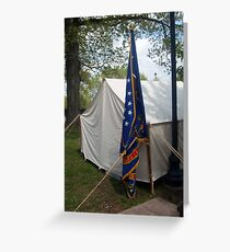 Civil War Officers Tent, Rhode Island Regiment Flag Greeting Card