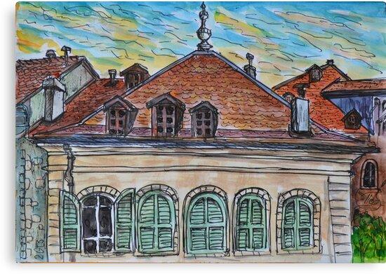 Watercolor Sketch - Genève, Rue de la Fontaine 15 by Igor Pozdnyakov