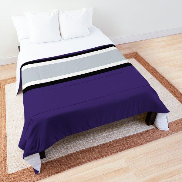 Purple, Black, White, & Gray Power Stripe Comforter