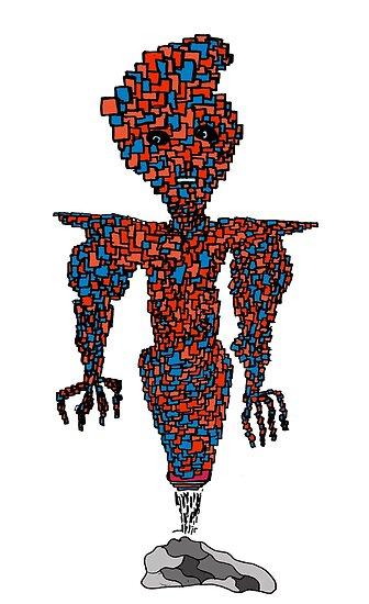 orange flying robot art print desing comic funny monster by jblittlemonsters