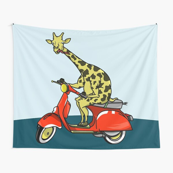 Giraffe Riding A Moped Tapestry